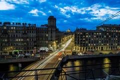 Izmailovskiy大道和桥梁横跨Fontanka河 免版税库存照片