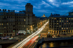 Izmailovskiy Avenue and the bridge across the Fontanka river in Royalty Free Stock Images