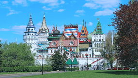 Izmailovskiy Kremlin in Moscow on a sunny day. MOSCOW, RUSSIA – MAY 7, 2016: Izmailovskiy Kremlin in Moscow on a sunny day Royalty Free Stock Image