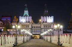 Izmailovsky Κρεμλίνο τη νύχτα στη Μόσχα, Ρωσία Στοκ φωτογραφία με δικαίωμα ελεύθερης χρήσης