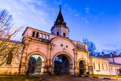 Izmailovsky Island. The Front Gate. Autumn 2014. Evening. Russia. Moscow. Izmailovsky Island. The town is named after Bauman. The Front Gate. The monument  of Royalty Free Stock Images