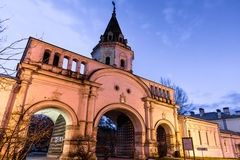 Izmailovsky Island. The Front Gate. Autumn 2014. Evening. Russia. Moscow. Izmailovsky Island. The town is named after Bauman. The Front Gate. The monument  of Stock Image