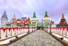Izmailovsky Kremlin, Moscow, Russia. White walls and traditional towers of Izmailovsky Kremlin in Moscow stock photography