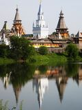 Izmaylovskiy Kremlin in Moscow Russia. Izmaylovskiy Kremlin in Moscow, Russia, wooden architecture, one of main landmarks Stock Photo