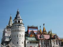 Izmaylovskiy Kremlin in Moscow Russia. Izmaylovskiy Kremlin in Moscow, Russia, wooden architecture, one of main landmarks Stock Photos