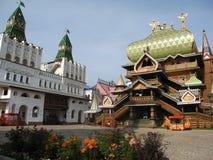Izmaylovskiy Kremlin in Moscow Russia. Izmaylovskiy Kremlin in Moscow, Russia, wooden palace and gates Royalty Free Stock Image