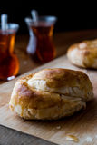 Izmir boyoz / round borek with tea Stock Photography