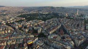 Izmir city center with coastline, ferries and fair. Turkish city, drone shot stock footage
