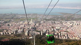 Izmir city,  sea, people  traveling cablecar, turkey stock video