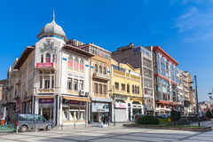 Izmir city street view, facades of living houses Royalty Free Stock Images