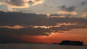 Izmir city, sunset, clouds,time lapse  turkey stock video footage
