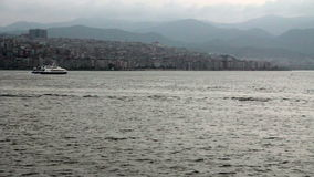 Izmir city, traveling on the sea, turkey. Izmir city,traveling ferry and seagull fly,turkey,1080p stock video