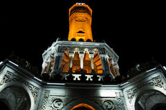 Izmir clock tower at night. Royalty Free Stock Photo