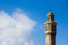 Izmir clock tower. The top of the Izmir clock tower with the beautiful white cloud and blue sky Royalty Free Stock Photos