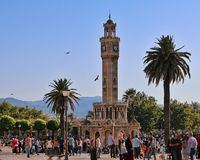 Izmir clock tower. Watch tower in Konak. This building is too old. More than hundred years Royalty Free Stock Photo
