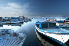 Izmir Harbour. In Turkey with colourful boats in the water stock photos