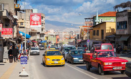 Izmir street view with buildings, cars and people Royalty Free Stock Photos