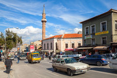 Izmir street view with mosque, building facades, cars Stock Image