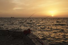 Izmir,Turkey. Izmir, Turkey - April 20, 2016:Izmir is a sunset on the beach Royalty Free Stock Image