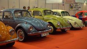 IZMIR, TURKEY, CAR EXHIBITION - OCTOBER, 2016: Legendary Volkswagen Beetle retro cars presented at cars exhibition fair. stock footage