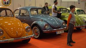 IZMIR, TURKEY, CAR EXHIBITION - OCTOBER, 2016: Legendary Volkswagen Beetle retro cars presented at cars exhibition fair. Legendary Volkswagen Beetle retro cars stock video
