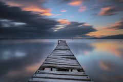 Free Izmir Turkey Cloudy Day Pier Long Exposure Sunset Royalty Free Stock Photography - 160664427