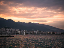 Izmir, Turkey -  February 9: View of Izmir city by the sea in Turkey Royalty Free Stock Photo