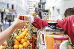Izmir,Turkey. Izmir, Turkey - April 24, 2016:In many parts of Izmir there is a shop selling fresh fruit juice Royalty Free Stock Photos