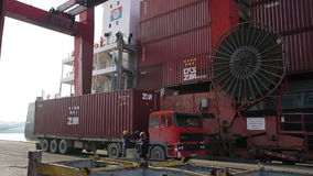 IZMIR, TURKEY - JANUARY 2013: Freight ship moored in harbour Stock Photo