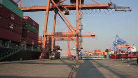 IZMIR, TURKEY - JANUARY 2013: Freight ship moored in harbour Stock Photography