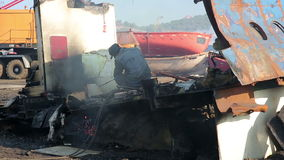 IZMIR, TURKEY - JANUARY 2013: Industrial scrapyard Stock Photo