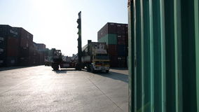 IZMIR, TURKEY - JANUARY 2013: Moving freight containers in port stock video