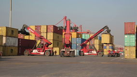 IZMIR, TURKEY - JANUARY 2013: Moving freight containers in port stock video footage