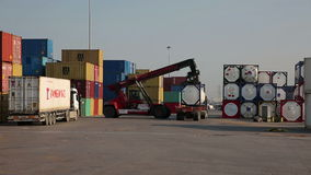 IZMIR, TURKEY - JANUARY 2013: Moving freight containers in port Stock Image