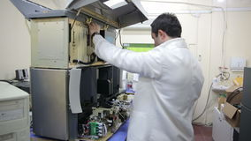 IZMIR, TURKEY - JANUARY 2013: Preparing laboratory equipment Royalty Free Stock Image