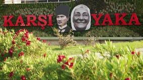 IZMIR, TURKEY, JULY 2015: Ataturk and his mother Zubeyde Hanim statues with Karsiyaka title. stock video