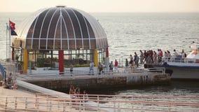 IZMIR, TURKEY - JULY 2015: Goztepe ferry station from bridge stock video