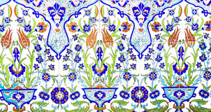 IZMIR, TURKEY - JULY 31 : Turkish artistic wall tile at the Fatih Mosque on July 31, 2014 in Izmir. impressive ancient Handmade Tu Stock Image