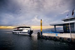 Steamboat on the aegean sea and Izmir bay with passengers and on Royalty Free Stock Image