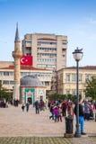 Izmir, Turkije Konakvierkant met lopende toeristen Royalty-vrije Stock Foto