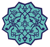 Iznik Ottoman Motif. Ottoman style Iznik motif in blue and turquoise with eastern floral ornaments Royalty Free Stock Images