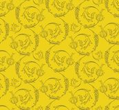 Floral swirls seamless pattern Royalty Free Stock Images