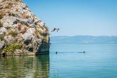 Iznikmeer in Turkije Mensen die van klip springen Stock Foto