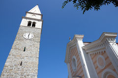 Izola, the belfry and church of St. Maur - Slovenia Royalty Free Stock Photography