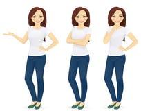 izolacja dżinsy biała kobieta ilustracja wektor
