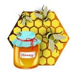 Izolujący garnek z miodem, honeycombs i pszczołami, Obraz Stock