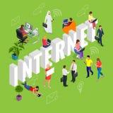 Izomeryczny Internetowy pojęcie Strona internetowa, komputer, Online, sieć, technologia, Internetowy marketing, Ogólnospołeczni ś Obraz Stock