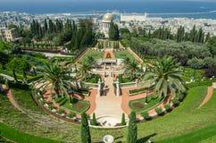 Izrael haiku bahai uprawia ogródek Haifa Widok taras i miasto Haifa Fotografia Stock