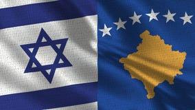 Izrael i Kosowo flaga - Dwa flaga Wpólnie zdjęcie royalty free