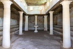Izrael Nazareth 18-05-2019 widok wnętrze stara synagoga jako ono patrzał w czasie Chrystus obraz stock